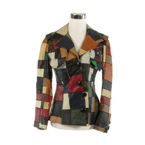 Multicolor leather patchwork WEST COAST LEATHER vintage jacket XS-Newish
