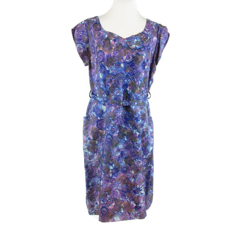 Blue purple floral print cap sleeve vintage sheath dress 18 L-Newish