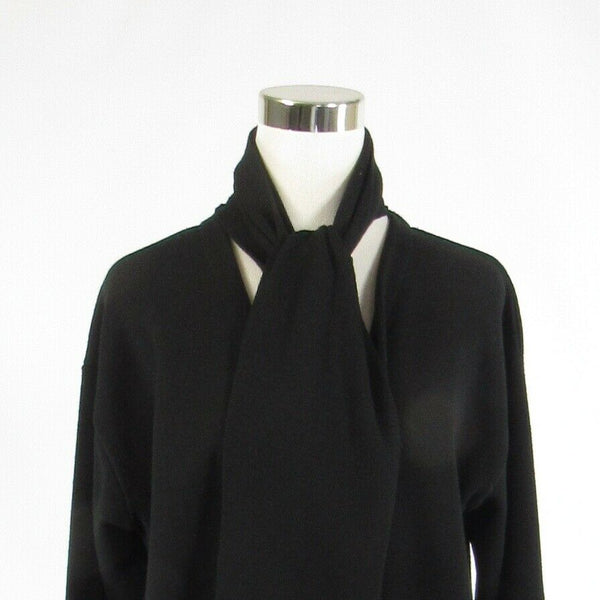 Black CHIARA MARCONI 3/4 sleeve attached scarf V-neck sweater PL-Newish