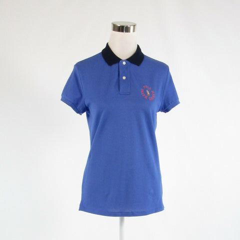 Dark blue cotton blend RALPH LAUREN BLUE LABEL short sleeve polo shirt blouse M-Newish