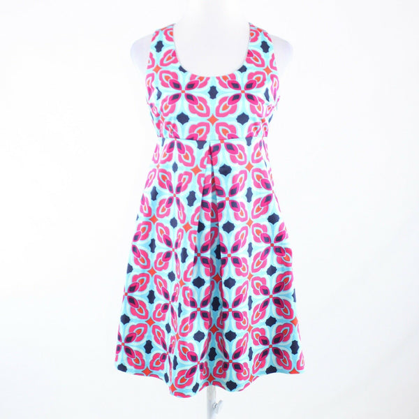 Blue pink floral print 100% cotton ELLEN and OLLIE sleeveless sun dress 6-Newish