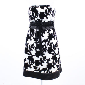 Ivory black floral print velvet WHITE HOUSE BLACK MARKET A-line dress 10