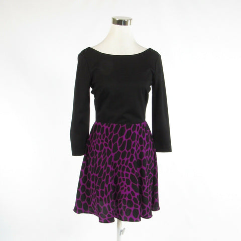Black purple giraffe ALICE and TRIXIE 3/4 sleeve A-line dress S-Newish