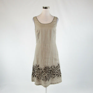 Khaki black floral print 100% linen LAFAYETTE 148 sleeveless A-line dress 6