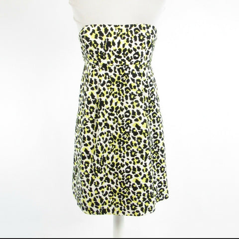 White black cheetah cotton blend MICHAEL KORS strapless sun dress 2