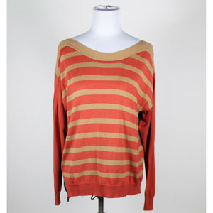 MINE orange beige green striped cotton blend long sleeve scoop neck sweater L-Newish