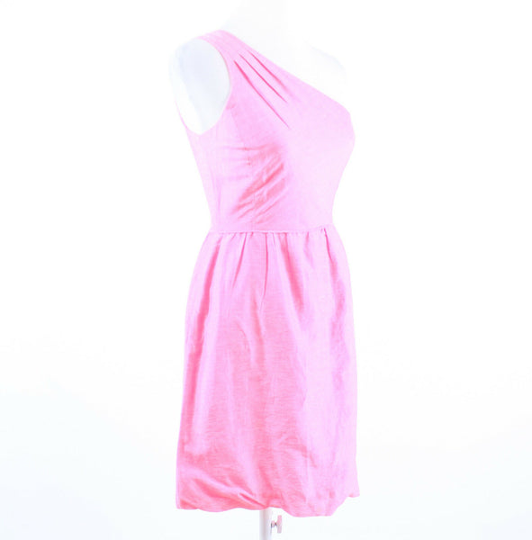 Pink shimmery linen blend J. CREW sleeveless one shoulder dress 0-Newish