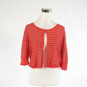 Fuchsia pink orange striped cotton blend FUSION 1/2 sleeve bolero sweater M-Newish