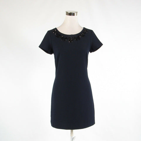 Navy blue black BANANA REPUBLIC beaded trim stretch short sleeve sheath dress 0-Newish