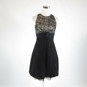 Black gray BADGLEY MISCHKA beaded trim sleeveless bubble dress 6