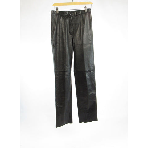 Black BCBG MAX AZRIA straight leg leather pants 6
