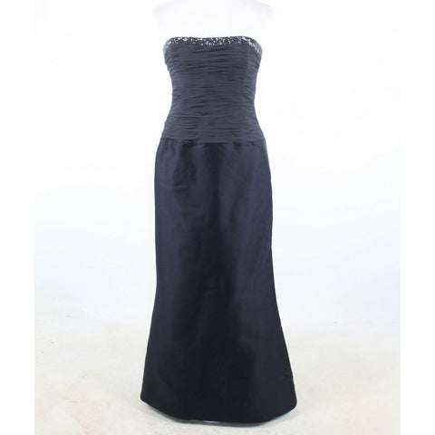Navy blue RICKIE FREEMAN Teri Jon beaded trim ball gown dress 10-Newish