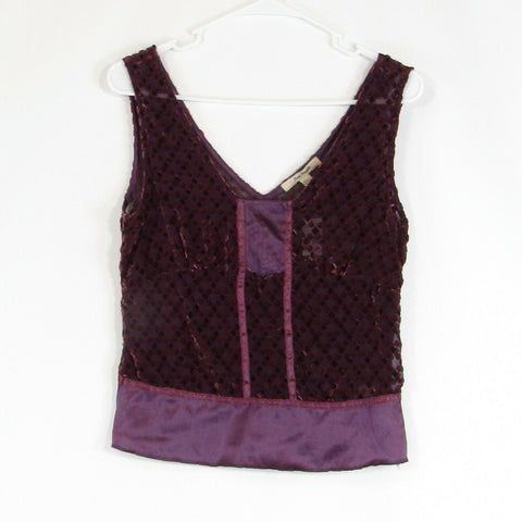 Purple orange diamond velour FREE PEOPLE sheer sleeveless blouse 6