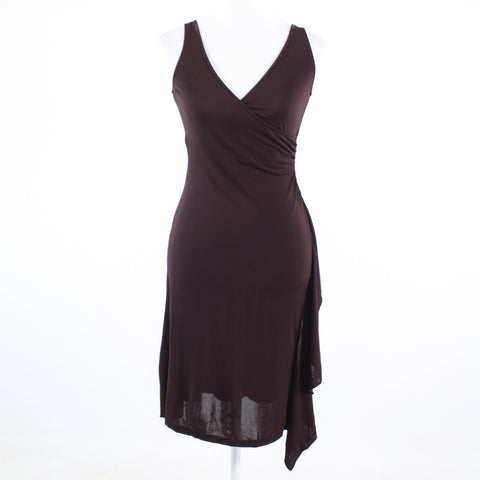 Brown stretch DIANE VON FURSTENBERG sleeveless faux wrap dress 2