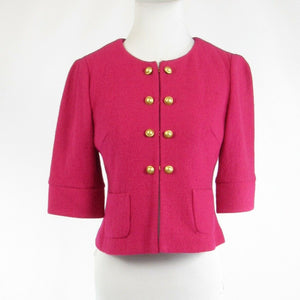 Fuchsia pink wool blend ANN TAYLOR LOFT double breasted 1/2 sleeve jacket S