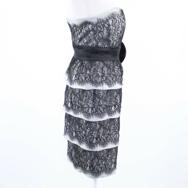Black gray lace MAGGY LONDON strapless tiered wiggle dress 4-Newish