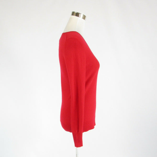 Red 100% cashmere ALEX MARIE long sleeve V-neck sweater S-Newish