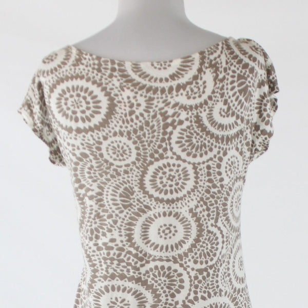 Brown white geometric cotton ANN TAYLOR LOFT scoop neck beaded trim blouse S