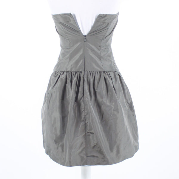 Gray 100% silk J. CREW strapless A-line dress 0P
