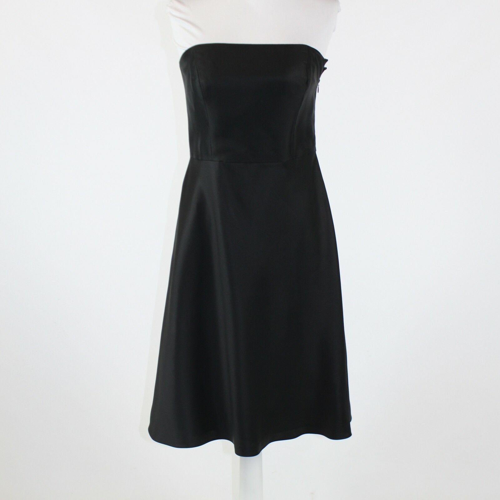 Black 100% silk sateen ANN TAYLOR strapless A-line dress 6P