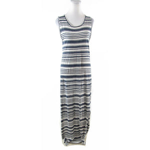 Navy blue white uneven striped 100% linen GRAHAM and SPENCER maxi dress M
