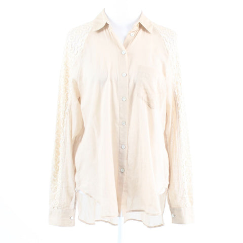 Beige cotton blend HOLDING HORSES long sleeve semi-sheer button down blouse S