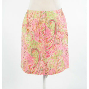 Light pink green paisley 100% cotton TALBOTS pencil skirt 10P