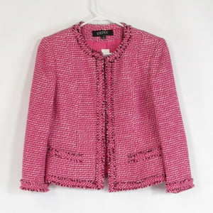 Dark pink white textured cotton blend KASPER open front blazer jacket 4