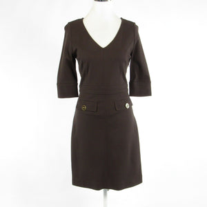Brown BETH BOWLEY stretch 3/4 sleeve sheath dress S-Newish