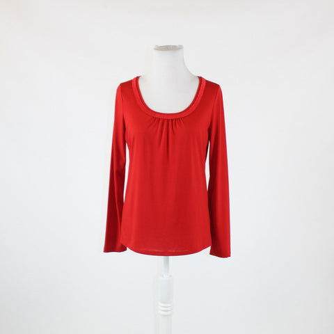 Red TALBOTS long sleeve scoop neck pleated ribbon neckline trim blouse S