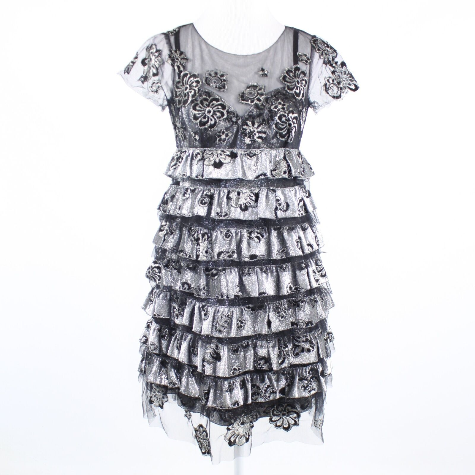 Silver black lace tulle MARC JACOBS Bergdorf Goodman tiered dress 2 Orig. $1,880