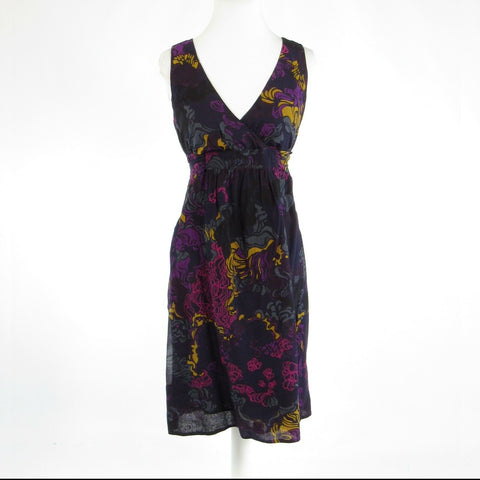Black purple floral print 100% cotton FRENCH CONNECTION A-line dress 6