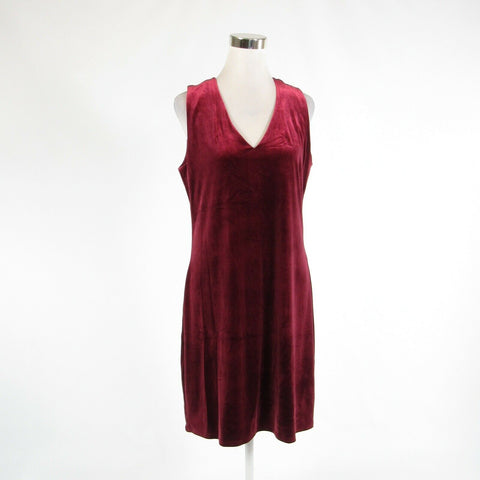 Maroon red velour WHITE HOUSE BLACK MARKET stretch sleeveless sheath dress 12-Newish