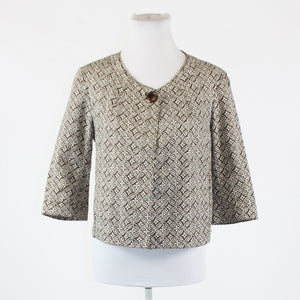 Brown ivory geometric stretch cotton blend TALBOTS 3/4 sleeve jacket 10P