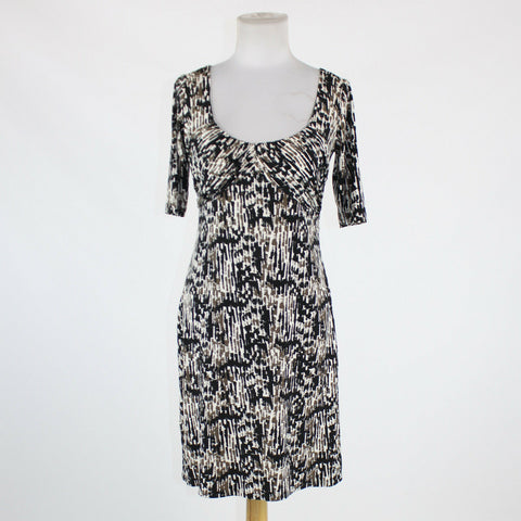 Black white beige geometric ANN TAYLOR short sleeve above knee stretch dress 0