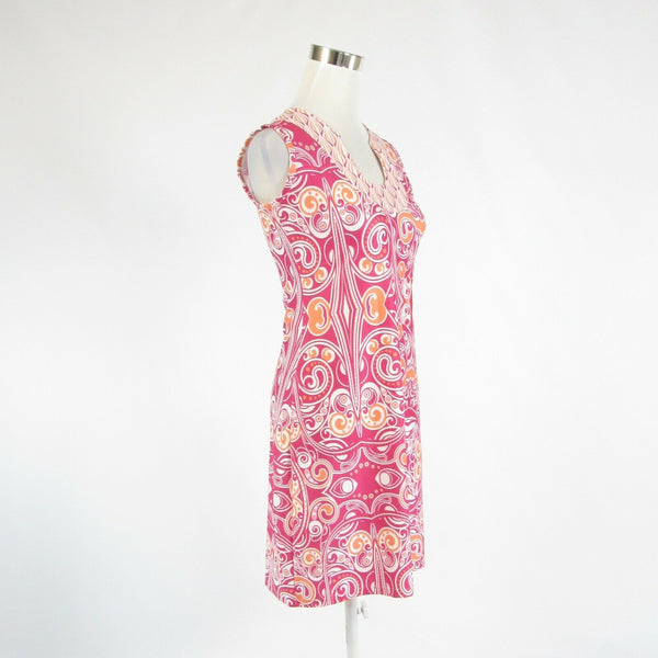 Fuchsia pink orange paisley AVA LYNN stretch sleeveless sheath dress XS-Newish