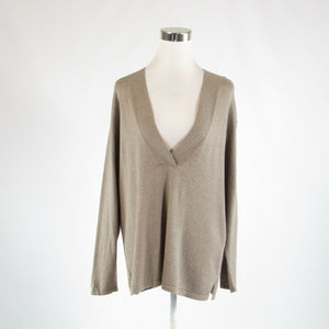Taupe cotton blend PURE JILL long sleeve V-neck sweater M