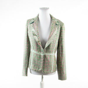 Green pink tweed TRUE MEANING embroidered trim long sleeve jacket 4