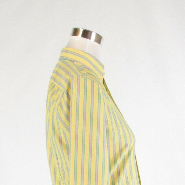 Yellow pink striped 100% cotton RALPH LAUREN BLUE LABEL button down blouse 2-Newish