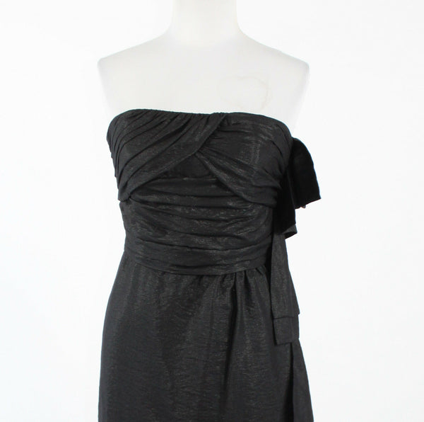 BCBGENERATION black rayon strapless above knee shimmery dress 6-Newish