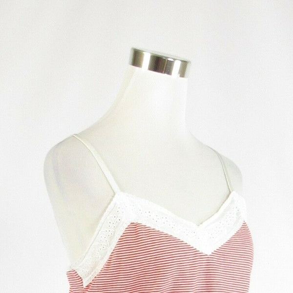 Red white pinstripe cotton blend LAUREN RALPH LAUREN cami blouse L-Newish