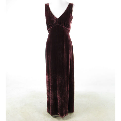 Maroon red velvet DENNIS GOLDSMITH sleeveless maxi dress S