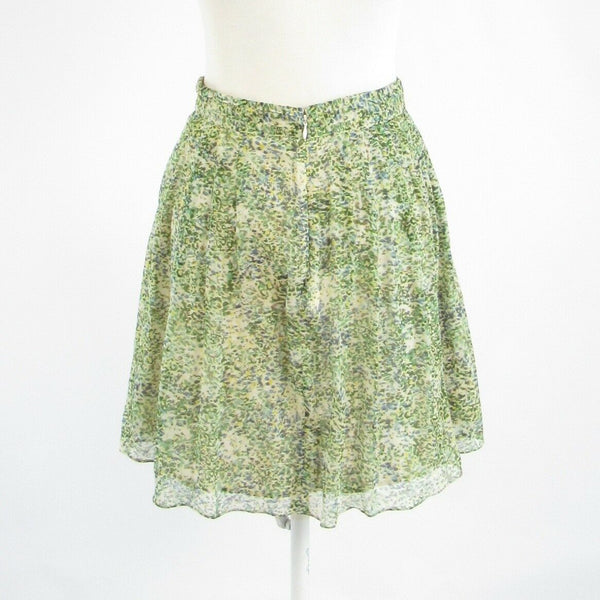 Light green floral print 100% silk J. CREW sheer overlay full skirt 0-Newish
