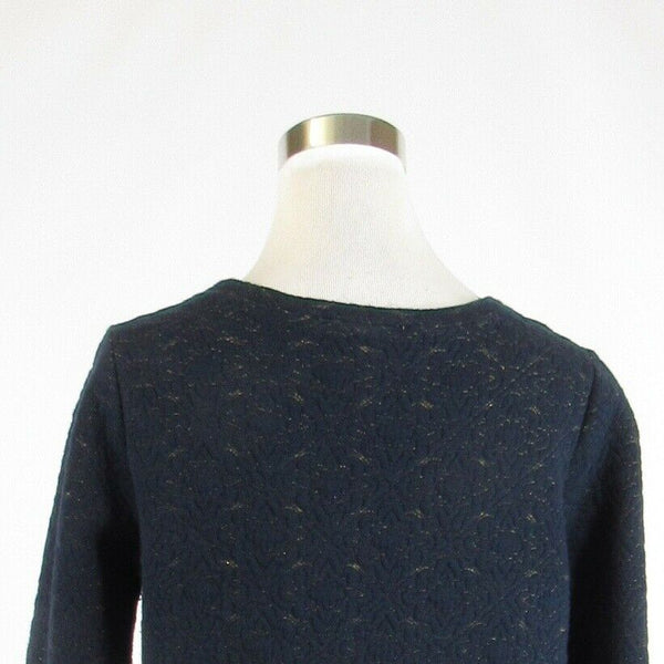 Navy blue gold diamond cotton blend ANN TAYLOR LOFT 3/4 sleeve knit blouse S-Newish