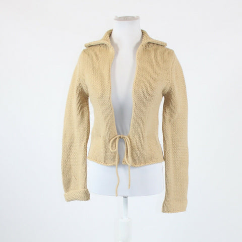Khaki beige GAP long sleeve front tie collared sweatercoat XS
