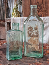 Load image into Gallery viewer, Large Antique Pharmacy Bottles Aqua Green Glass
