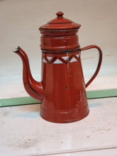 Load image into Gallery viewer, Vintage French Cafetiere Enamel Coffee Pot Rustic Farmhouse Glamping vintage french enamel country kitchen Fresh coffee morning coffee Antique french dusty gems interiors nantwich