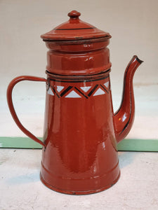 Vintage French Cafetiere Enamel Coffee Pot Rustic Farmhouse Glamping vintage french enamel country kitchen Fresh coffee morning coffee Antique french dusty gems interiors nantwich