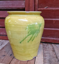 Load image into Gallery viewer,  Antique Catalonian Yellow Glazed Confit Pot country kitchen French country kitchen ideas Rustic glazed pottery