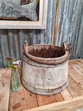 Load image into Gallery viewer, French Wooden Milk Bucket Primitive Rustic French country